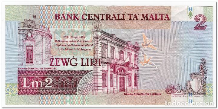 Billetes extranjeros: MALTA,2 LIRI,L.1967 (1994),P.45,F-VF - Foto 2 - 293664963