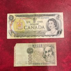 Billetes extranjeros: BILLETE DE ITALIA Y CANADA. Lote 294811728