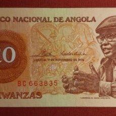 Billetes extranjeros: 20 KWANZAS, ANGOLA. 1976. (PICK.109).. Lote 295335678