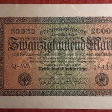 Billetes extranjeros: 20.000 MARCOS, ALEMANIA. 1923. (PICK.85A).. Lote 295340408