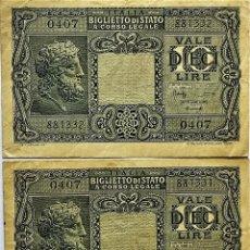 Billetes extranjeros: ITALIA - BILLETE DE STADO - PAR SEGUIDO -10 LIRAS - 23-11-1944 - 0407 881331-2 - PICK#32 - MB. Lote 295376898