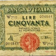 Billetes extranjeros: ITALIA - GOBIERNO INTERINO - 50 LIRAS - 10-12-1944 - W210 004844 - PICK 74A - VF. Lote 295377148