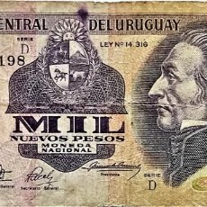 Billetes extranjeros: URUGUAY - 1000 NUEVOS PESOS ND(1992) - SERIE D 15250198 - PICK#64A - B. Lote 295379993