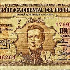 Billetes extranjeros: URUGUAY - 1 PESO - LEY 2-1-1939 - C 17606264 - PICK#35B - MB. Lote 295380188