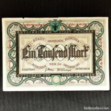 Billetes extranjeros: ⚜️ 1000 MARK 1922. MUNICH. NOTGELD. ALEMANIA. B03. Lote 295381513