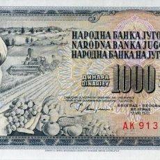 Billetes extranjeros: YUGOSLAVIA 1000 DINARA 1978 PICK 92C S/C UNC. Lote 295617518