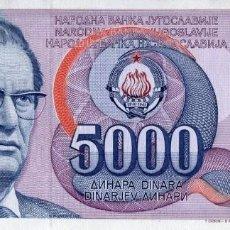 Billetes extranjeros: YUGOSLAVIA 5000 DINARA 1985 PICK 93A S/C UNC. Lote 295617763