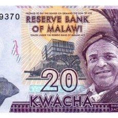 Billetes extranjeros: BILLETE DE MALAWI DE 20 KWACHA EN PERFECTO ESTADO. Lote 295617958