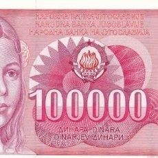 Billetes extranjeros: YUGOSLAVIA 100000 DINARA 1989 PICK 97 S/C UNC. Lote 295618648