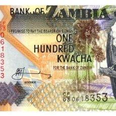 Billetes extranjeros: BILLETE DE ZAMBIA DE 100 KWACHA EN PERFECTO ESTADO. Lote 295619863