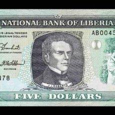 Billetes extranjeros: LIBERIA 5 DOLLARS 1989 PICK 19 SC UNC. Lote 295619978