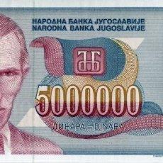 Billetes extranjeros: YUGOSLAVIA 5000000 DINARA 1993 PICK 121A S/C UNC. Lote 295620378
