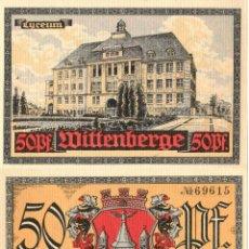 Billetes extranjeros: ALEMANIA / GERMANY. WITTENBERGE, SAJONIA / SAXONY. NOTGELD. DINERO DE EMERGENCIA. 50 PFENNIG. SC.. Lote 295639153