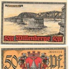 Billetes extranjeros: ALEMANIA / GERMANY. WITTENBERGE, SAJONIA / SAXONY. NOTGELD. DINERO DE EMERGENCIA. 50 PFENNIG. SC.. Lote 295639328