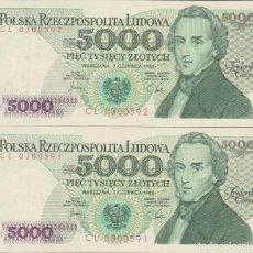 Billetes extranjeros: BILLETES - POLONIA 5000 ZLOTYCH 1982 - SERIE CL 0300609/10 - PAREJA CORRELATIVA - PICK-150A (SC). Lote 295742273