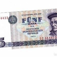 Billetes extranjeros: ALEMANIA REPUBLICA DEMOCRATICA 5 MARK 1975 PICK 27 SIN CIRCULAR. Lote 295742298