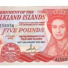 Billetes extranjeros: ISLAS MALVINAS ( FALKLAND ISLANDS) 5 POUNDS 1983 PICK 12A. SIN CIRCULAR. Lote 295850728