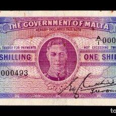 Billetes extranjeros: MALTA 1 SHILLING GEORGE VI 1943 PICK 16 LOW SERIAL MBC VF. Lote 295852023