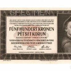 Billetes extranjeros: BOHEMIA Y MORAVIA 500 KORUN 1942 PICK 12S. SPECIMEN. SIN CIRCULAR. Lote 295855968