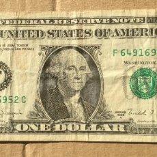 Billetes extranjeros: ESTADOS UNIDOS - 1 DOLAR 1988 ( F) BC. Lote 295985298