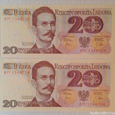 Billetes extranjeros: 20 ZŁOTYCH DE POLONIA/ CORRELATIVOS. Lote 295988738