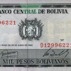 Billetes extranjeros: BOLIVIA 1000 PESOS 1982 PICK 167A S/C UNC. Lote 296780518