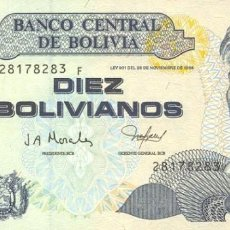 Billetes extranjeros: BOLIVIA 10 BOLIVIANOS 2001 PICK 223 S/C UNC. Lote 296780793