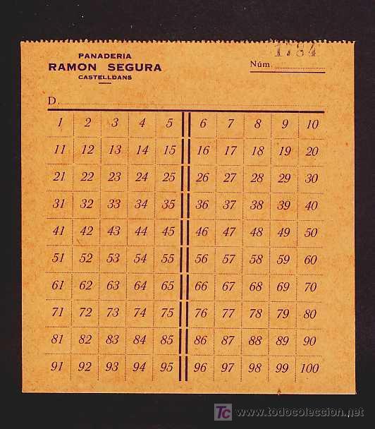 VALE DE PAN DE LA PANADERIA RAMON SEGURA DE CASTELLDANS (LLEIDA) (Numismática - Notafilia - Billetes Locales)