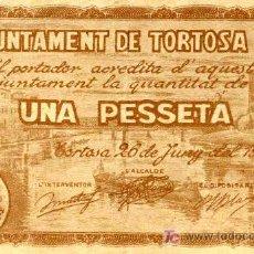 Billetes locales: BILLETE LOCAL DE TORTOSA, 1 PTA. MARRON. Lote 4693475