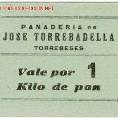 Billetes locales: VALE 1 KILO PAN PANADERIA JOSE TORREBADELLA -TORREBESES. Lote 1722073