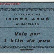 Billetes locales: VALE 1 KILO PAN PANADERIA ISIDRO ARNO - ALMACELLAS . Lote 1722304