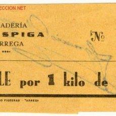 Billetes locales: VALE 1 KILO PAN PANADERIA LA ESPIGA - TARREGA. Lote 1722386