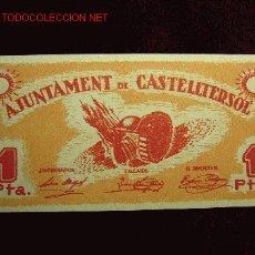 Billetes locales: 1 PESETA AJUNTAMENT DE CASTELLTERSOL S/C. Lote 19375608