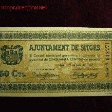 Billetes locales: 50 CENTIMOS AJUNTAMENT DE SITGES 1937 S/C. Lote 19375607
