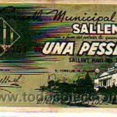 Billetes locales: INTERESANTE BILLETE -EL CONSELL MUNICIPAL DE SALLENT. Lote 17189960