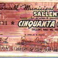 Billetes locales: INTERESANTE BILLETE -EL CONSELL MUNICIPAL DE SALLENT. Lote 18049290
