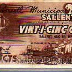 Billetes locales: INTERESANTE BILLETE -EL CONSELL MUNICIPAL DE SALLENT. Lote 18049291