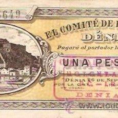 Billetes locales: BILLTE LOCAL DENIA GUERRA CIVIL 1936 C.N.T. U.G.T.. Lote 11181121