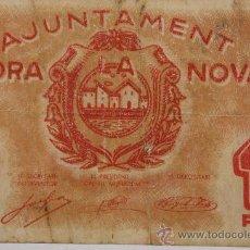 Billetes locales: MORA LA NOVA 1 PTA SIN FECHA GUERRA CIVIL. Lote 11296345