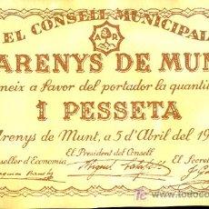 Billetes locales: EL CONSELL MUNICIPAL D'ARENYS DE MUNT. UNA PESSETA. 5 DE ABRIL DE 1937. S/C. Lote 24923575