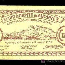Billetes locales: BILLETE LOCAL DE 50 CENTIMOS DEL AYUNTAMIENTO DE ALICANTE. 18 MARZO Y 17 JUNIO 1937. EBC+. Lote 23823667