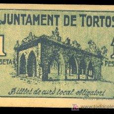 Billetes locales: BILLETE LOCAL DE UNA 1 PESETA DEL AJUNTAMENT DE TORTOSA. 9 DE NOVIEMBRE DE 1937. Lote 25631463