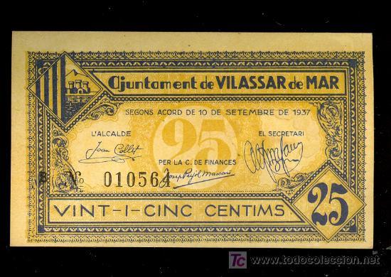 BILETE LOCAL DE 25 CENTIMOS DEL AJUNTAMENT DE VILASSAR DE MAR, BARCELONA. 10 DE SETEMBRE DE 1937 S-C (Numismática - Notafilia - Billetes Locales)