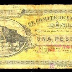 Billetes locales: BILETE LOCAL DE 1 PESETA DEL COMITE DE ENLACE DE DENIA, ALICANTE. 29 DE SEPTIEMBRE DE 1936. Lote 25631452