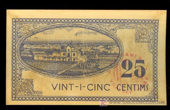 Billetes locales: BILETE LOCAL DE 25 CENTIMOS DEL AJUNTAMENT DE VILASSAR DE MAR, BARCELONA. 10 DE SETEMBRE DE 1937 S-C - Foto 2 - 22003716