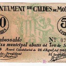 Billetes locales: BILLETE DE 50 CENTIMOS DEL AJUNTAMENT DE CALDES DE MONTBUI. SETEMBRE DEL 1938. Lote 23823664