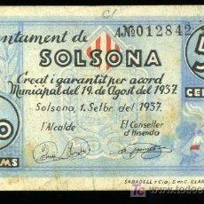Billetes locales: BILLETE DE 50 CENTIMOS DEL AJUNTAMENT DE SOLSONA. 1 SETEMBRE DEL 1937. Lote 23725916