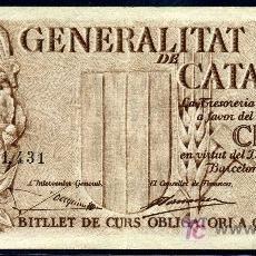 Billetes locales: CATALUNYA : 5 PESETAS 25 SEPTIEMBRE 1936 APROX. EBC. Lote 27425087
