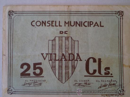 CONSELL MUNICIPAL DE VILADA 25 CENTIMOS RARO SIN FECHA GUERRA CIVIL (Numismática - Notafilia - Billetes Locales)