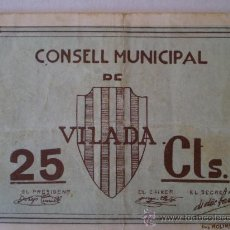 Billetes locales: CONSELL MUNICIPAL DE VILADA 25 CENTIMOS RARO SIN FECHA GUERRA CIVIL. Lote 13755350